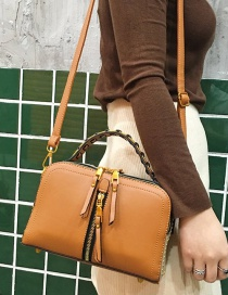 Fashion Brown Pu Zipper Shoulder Bag