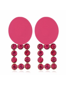 Fashion Rose Red Alloy Ring Diamond Earrings