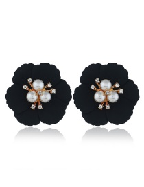 Fashion Black Flower Pearl Earrings