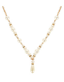 Fashion Gold Imitation Pearl-encrusted Alloy Drop Necklace