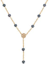 Fashion Gold Plus Gray Flower Imitation Pearl Necklace