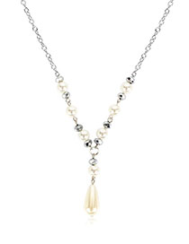 Fashion White K Imitation Pearl Crystal Drop Necklace