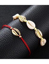 Fashion Gold Ball Shell Alloy Anklet
