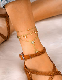 Fashion Gold Rice Beads Beaded Six-pointed Star Alloy Anklet 3 Piece Set