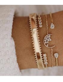 Fashion Gold Chain With Diamond Drop Moon Open Bracelet 4 Piece Set
