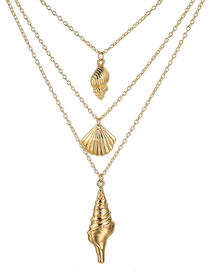 Fashion Gold Shell Size Conch Alloy Three-layer Necklace