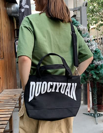Fashion Black Letter Canvas Portable Messenger Bag
