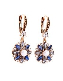 Fashion Blue Flower Pearl Earrings
