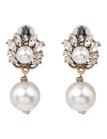 Fashion White Glass Diamond Pearl Earrings
