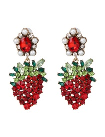 Fashion Red Fruit Strawberry Stud Earrings