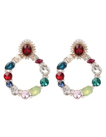 Fashion White Color Geometric Round Diamond Stud Earrings