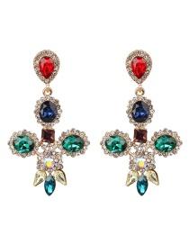 Fashion Color Cross Stud Earrings