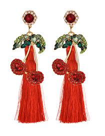 Fashion Red Alloy Studded Cherry Tassel Earrings