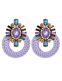 Fashion Purple + Color Alloy Diamond-studded Round Earrings