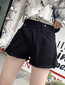 Fashion Black Diagonal Buckle Denim Shorts