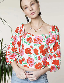 Fashion Safflower Square Collar Flower Shirt