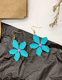 Fashion Blue Contrast Flower Earrings