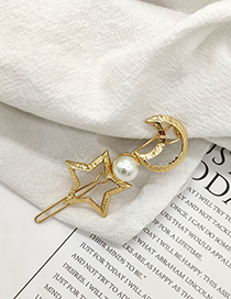 Fashion Xingyue Star Moon Pearl Hollow Hair Clip
