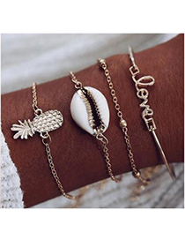 Fashion Alloy Alloy Love Pineapple Shell Bracelet Set