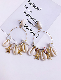 Fashion White Alloy Resin Shell Earrings