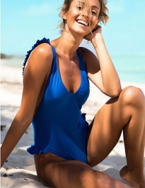 Fashion Blue Solid Color Backless Small Flying High Waist One-piece Swimsuit