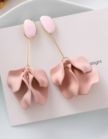 Fashion Pink 925 Silver Needle Matte Petal Earrings