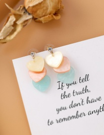 Fashion Color Contrast Color Love Shell Su Round Piece Color Earrings