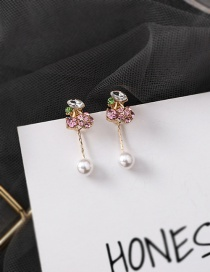 Fashion Pink (cherry) S925 Silver Needle Fruit Pearl Back Hanging Earrings