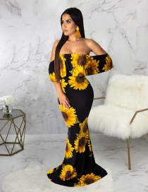 Fashion Yellow Digital Print One-piece Tube Top Dress