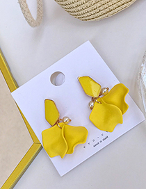Fashion Yellow Stitching Petals Earrings