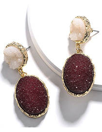 Fashion Wine Red Alloy Resin Crystal Tooth Oval Drop-shaped Earrings