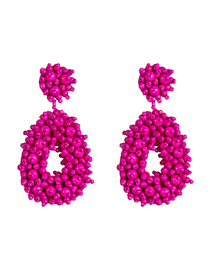 Fashion Rose Red Velvet Compartment Thickening Drop-shaped Rice Beads Earrings