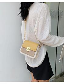 Fashion Yellow Contrast Shoulder Crossbody Chain Bag