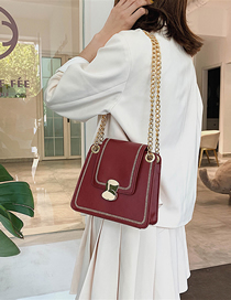 Fashion Wine Red Crossbody Sewing Chain Lock Bag