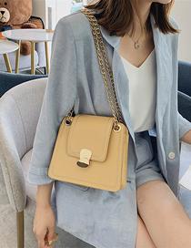 Fashion Yellow Large Crossbody Sewing Chain Lock Bag