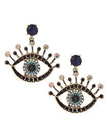 Fashion Blue Alloy Diamond Eye Studs