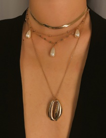 Fashion Gold Multi-layer Chain Drop-shaped Pearl Shell Necklace