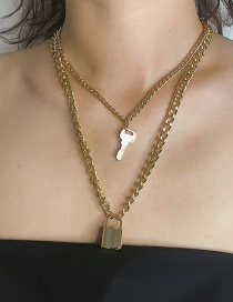 Fashion Gold Key Lock Necklace