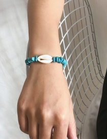 Fashion Blue Natural Shell Adjustable Beaded Irregular Turquoise Shell Braided Bracelet