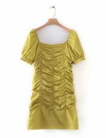 Fashion Yellow Pleated Off-the-shoulder Dress