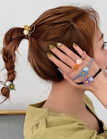 Fashion Yellow/small Daisy Flower Frangipani Hair Ring