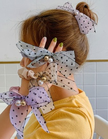 Fashion Pink Polka Dot Bow Hair Ring