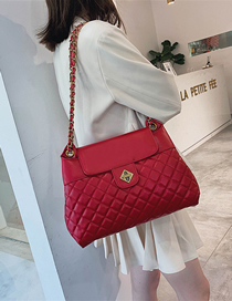 Fashion Red Rhombic Chain Shoulder Bag