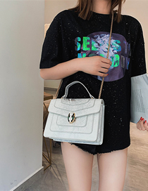 Fashion White Portable Snake Head Shoulder Color Crossbody Bag