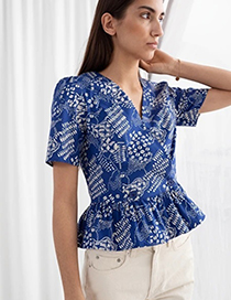 Fashion Blue Print Printed V-neck Shirt