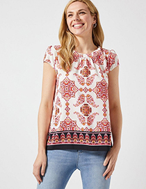 Fashion Red Print Printed T-shirt