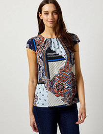 Fashion Stitching Printing Round Neck Mixed Color Printing And Dyeing Top