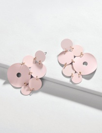 Fashion Pink Round Painted Multi-layer Geometric Earrings