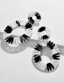 Fashion Black And White Openwork Alloy Section Dyed Lafite Woven Earrings