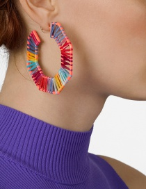 Fashion Color Openwork Alloy Section Dyed Lafite Woven Earrings